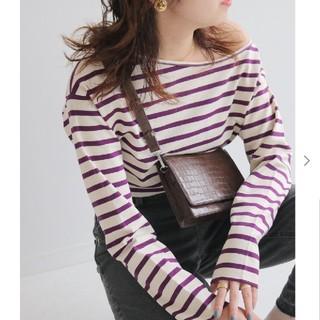 イエナスローブ(IENA SLOBE)のSLOBE IENA カラーボーダーTシャツ パープル(Tシャツ(長袖/七分))
