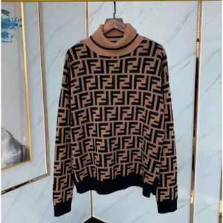 フェンディ(FENDI)の大人気FFロゴ【FENDI】 総柄 カシミア タートルネックセーター(ニット/セーター)
