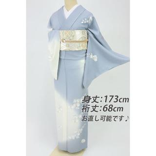 《未使用品■単衣■刺繍の胡蝶蘭訪問着■ブルーグレー×白◆正絹着物◆SA9-14》(着物)