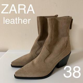 ザラ(ZARA)の新品タグ付  ZARA 上品 きれいめ レザー スエード ブーツ38(ブーツ)