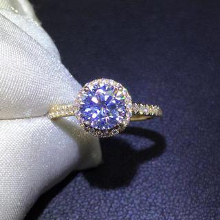 【1カラット 】輝く モアサナイト ダイヤモンド k18 リング(リング(指輪))