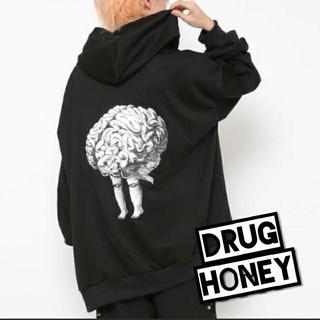 ファンキーフルーツ(FUNKY FRUIT)のDrughoney【ユニセックス】バック臓器移植柄ジップアップパーカー/脳(パーカー)