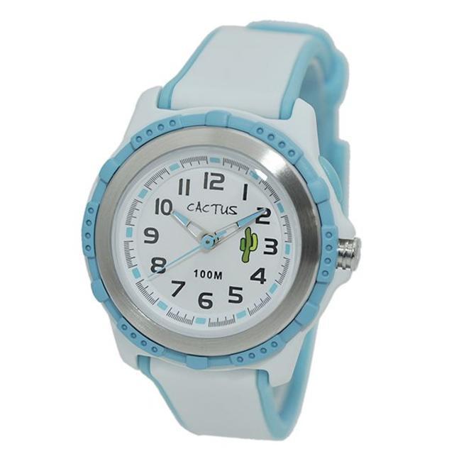 CACTUS - 腕時計 キッズ 女の子 カクタス 100m 防水 ホワイト ブルー ウォッチの通販 by おもち's shop|カクタスならラクマ