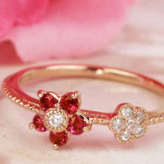 1月値下げ BIZOUX ミャンマー産ルビー×ダイヤモンドリング・ブルーム(リング(指輪))