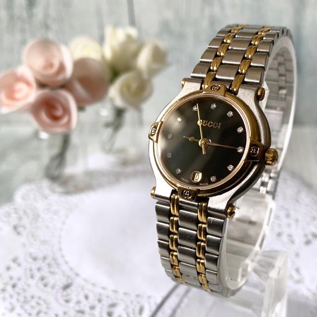 Gucci - 【動作OK】GUCCI グッチ 9000L 腕時計 ゴールド 11P ダイヤの通販 by soga's shop|グッチならラクマ