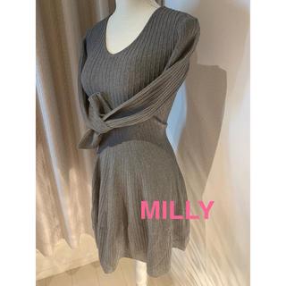 ミリー(Milly)のミリー 美シルエット ワンピース グレイ(ひざ丈ワンピース)
