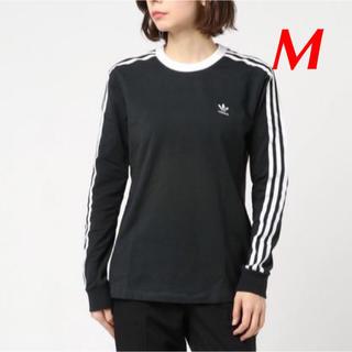 アディダス(adidas)の【レディースM】黒  3ストライプ ロングスリーブ Tシャツ(Tシャツ(長袖/七分))