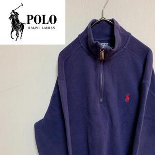 ポロラルフローレン(POLO RALPH LAUREN)の90s ポロラルフローレン ハーフジップ スウェット ニット 刺繍ロゴ 古着(ニット/セーター)