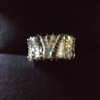 k18WGブラック&ホワイトダイヤゼブラ柄リング(リング(指輪))