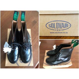 サンダース(SANDERS)の成約済み   新品SOLOVAIR  黒ブローグブーツ  size UK8(ブーツ)