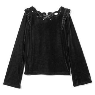グレイル(GRL)のGRL パール付 スカラップベロアトップス ブラック 黒 韓国ファッション(カットソー(長袖/七分))