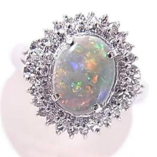 プラチナ Pt900オパール0.75ctダイアモンド0.35ctリング(リング(指輪))