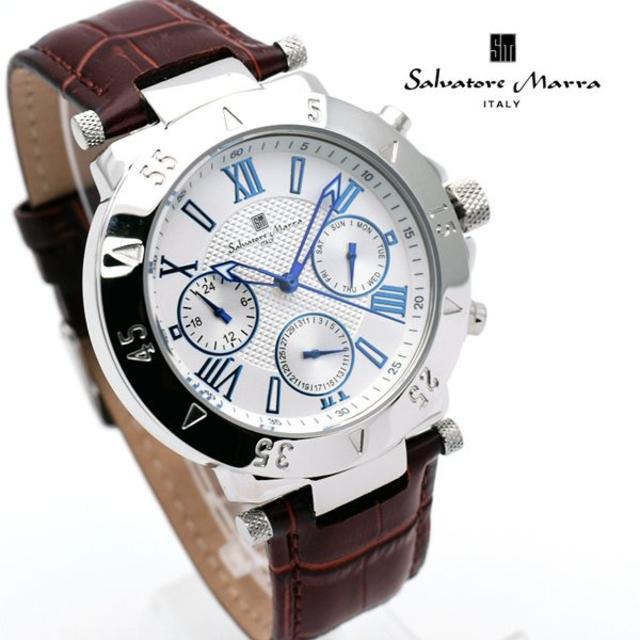 Salvatore Marra - サルバトーレマーラ 腕時計 メンズ ホワイト ブラウン クロコ型押し ベルトの通販 by おもち's shop|サルバトーレマーラならラクマ