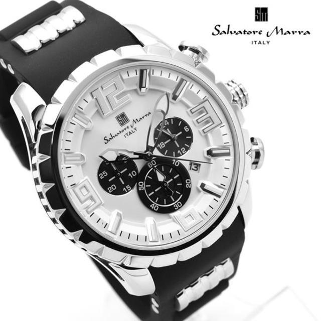 Salvatore Marra - サルバトーレマーラ 腕時計 メンズ クロノグラフ ブランド 時計 白 黒の通販 by おもち's shop|サルバトーレマーラならラクマ