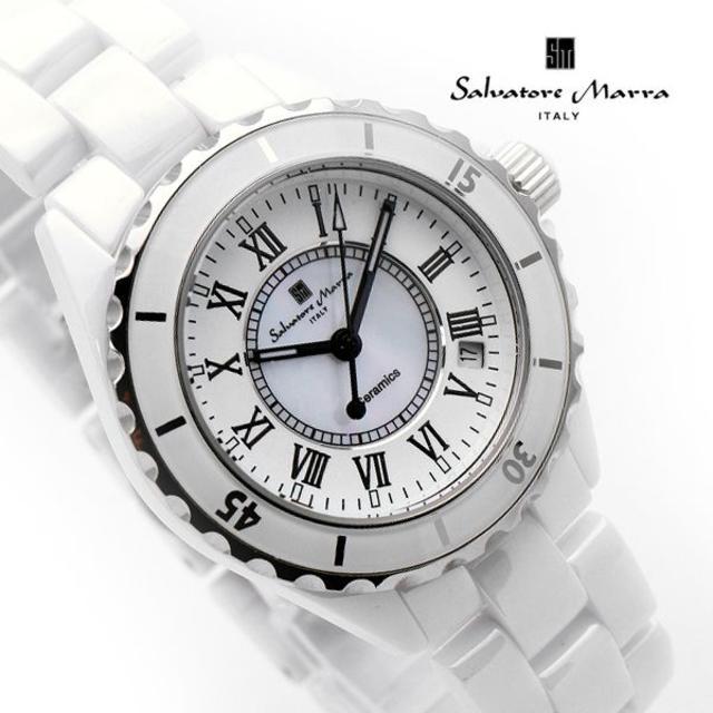 Salvatore Marra - サルバトーレマーラ 腕時計 メンズ ホワイト セラミック ブランドの通販 by おもち's shop|サルバトーレマーラならラクマ