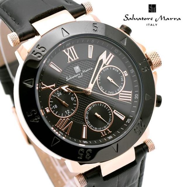 Salvatore Marra - サルバトーレマーラ 腕時計 メンズ クロコ型押し レザーベルト ブランド 黒の通販 by おもち's shop|サルバトーレマーラならラクマ