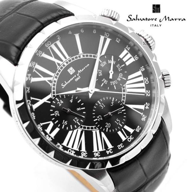 Salvatore Marra - サルバトーレマーラ 腕時計 メンズ レザー ブラック デイデイト 黒の通販 by おもち's shop|サルバトーレマーラならラクマ