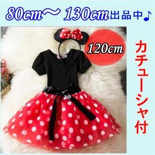 ディズニー(Disney)の120cm ミニーちゃん ドットのチュールが可愛い✨ワンピース 衣装 女の子(ワンピース)