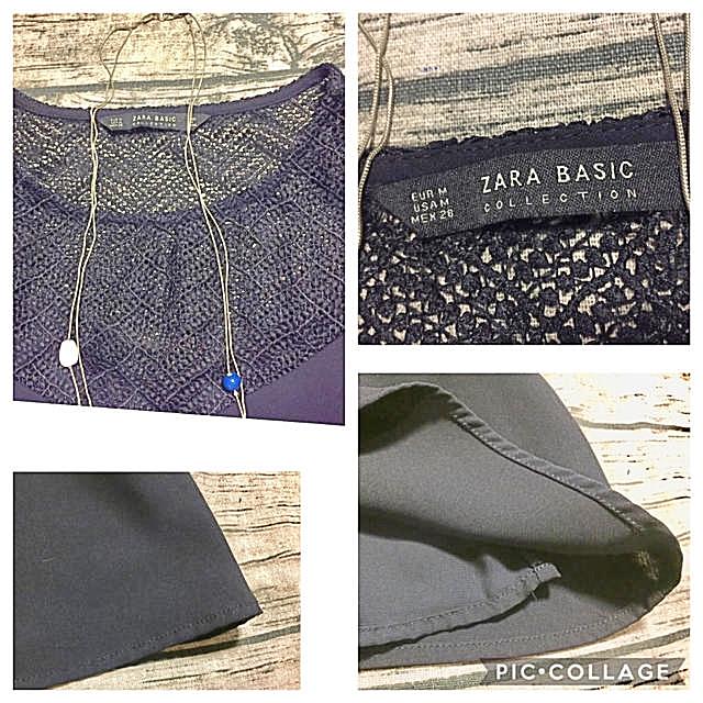 ZARA(ザラ)のZARA BASIC 胸元レースのワンピース 濃紺 USA M レディースのワンピース(ひざ丈ワンピース)の商品写真