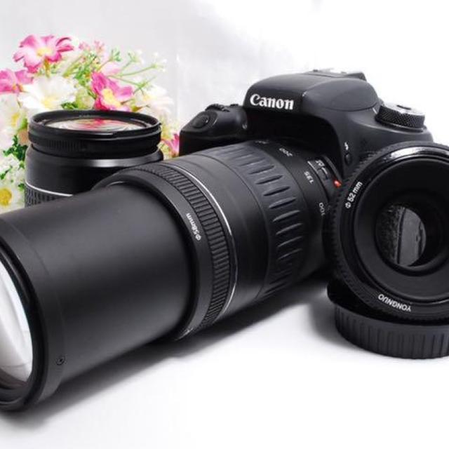 Canon(キヤノン)の【どのシーンでも大活躍!】WiFi対応Canon 8000D トリプルレンズ スマホ/家電/カメラのカメラ(デジタル一眼)の商品写真
