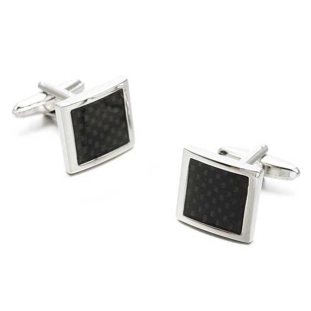 角型 カフスボタン ブラックチェックシルバー カフス ネクタイ タイピン メンズのファッション小物(カフリンクス)の商品写真