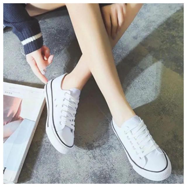 スニーカー レディース キャンパス 24cm 靴 ホワイト 白色 シンプル レディースの靴/シューズ(スニーカー)の商品写真