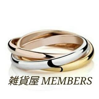 送料無料7号サージカルステンレス3色スリーカラー3連トリニティリング指輪値下げ(リング(指輪))