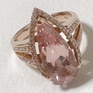 ❤K18PG モルガナイト4.39ct ダイヤ取り巻きリング❤(リング(指輪))