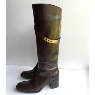 サルトル(SARTORE)の38 SARTORE サルトル ロングブーツ  ダークブラウン 美品(ブーツ)