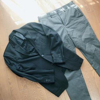 ユニクロ(UNIQLO)のジャケット(UNIQLO)黒×パンツ(GU)グレーセット 170cm以下くらい(セットアップ)