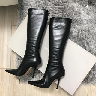 ジミーチュウ(JIMMY CHOO)のジミーチュウ ブーツ✨jimmyChoo レザーブーツ 35 黒(ブーツ)