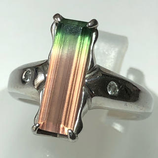 pt900 プラチナ900 バイカラートルマリン ダイヤモンド リング 指輪(リング(指輪))