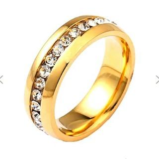 送料無料 7号 ゴールドサージカルステンレススーパーCZ フルエタニティリング(リング(指輪))