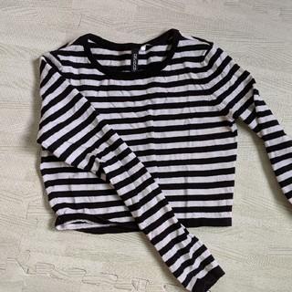 エイチアンドエム(H&M)のショート丈 ボーダー ロンT(Tシャツ(長袖/七分))