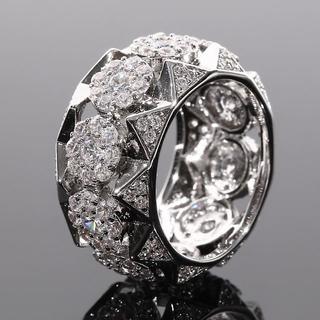 ジルコニア ラッパーリング ファット極太 ホワイトゴールド 18号(リング(指輪))