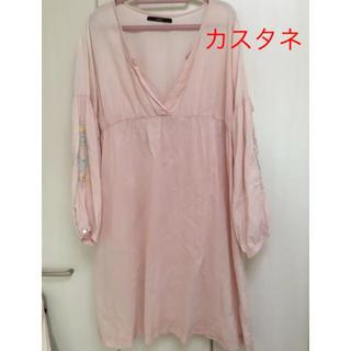 カスタネ(Kastane)の★カスタネ 刺繍 チュニックワンピース ピンク(ひざ丈ワンピース)