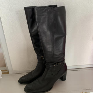 ing - ing 本革 ロングブーツ 黒 ブラック ブーツ 24.5cm