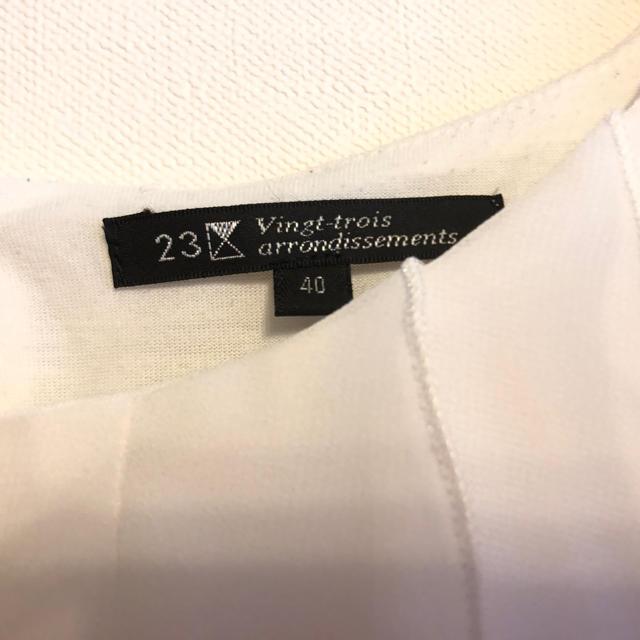 23区(ニジュウサンク)の23区 半袖 カットソー レディース 40 白 レディースのトップス(カットソー(半袖/袖なし))の商品写真