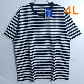 新品 4L (XXXL) 大きいサイズ ボーダー半袖Tシャツ ブラック (Tシャツ/カットソー(半袖/袖なし))