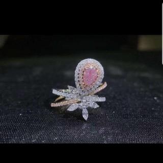 GIA♡ペアシェイプF.L.Pinkダイヤモンドリング(リング(指輪))