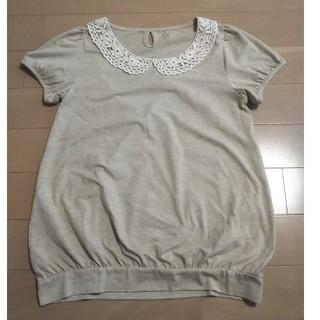 襟元レースの半袖カットソー LLサイズ(カットソー(半袖/袖なし))