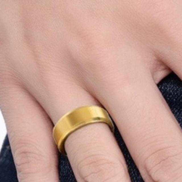 ゴールド 指輪 ステンレスリング メンズ 指輪  鏡面 フラット 平打 チタン メンズのアクセサリー(リング(指輪))の商品写真