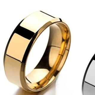 ゴールド 指輪 ステンレスリング メンズ 指輪  鏡面 フラット 平打 チタン(リング(指輪))