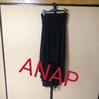 アナップ(ANAP)のANAP後ろ下がりベア ワンピース  黒! (ひざ丈ワンピース)