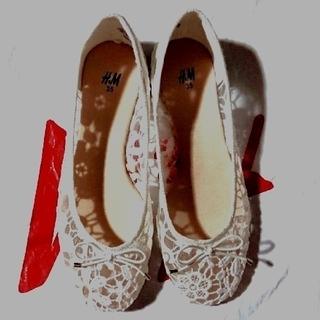 エイチアンドエム(H&M)の新品H&M レース花柄バレエシューズ 白 21㎝ size35 (バレエシューズ)