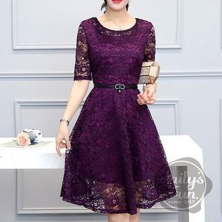 再入荷☆即完売必至☆ 総レース 紫 XL ワンピース ドレス フレア(ミディアムドレス)