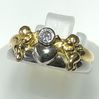 天使モチーフ リング ダイヤモンド 指輪 k18yg pt900(リング(指輪))