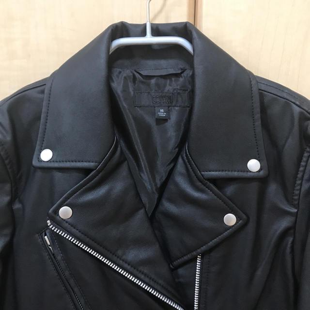 UNIQLO(ユニクロ)のユニクロ ライダースジャケット xs 黒 アウター 新品 レディースのジャケット/アウター(ライダースジャケット)の商品写真