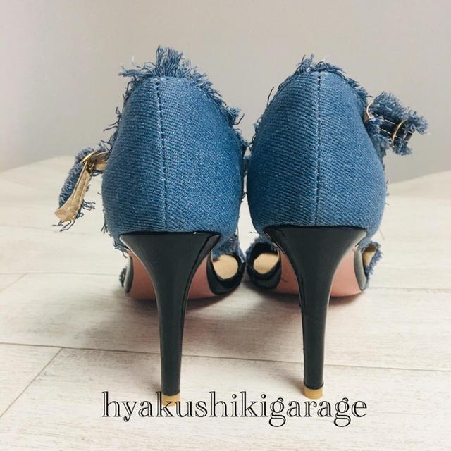 new!26センチ デニム生地 ピンヒール 大きいサイズ ミュール サンダル レディースの靴/シューズ(サンダル)の商品写真