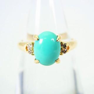 K18 トルコ石 ダイヤモンド リング 10号[f51-11](リング(指輪))